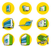 Haushaltsgerät-Ikonen Stockbild