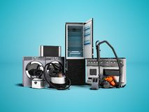 Haushaltsgerätgruppe des Staubsaugerkühlschrankmikrowellenwaschmaschinen-Waschmaschinengasherds 3d auf blauem b übertragen stock abbildung