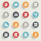 Haushaltsgerätikonen mit Farbe knöpft auf grauem Hintergrund Lizenzfreies Stockbild