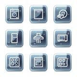 Haushaltsgerätweb-Ikonen Stockfotografie