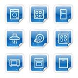 Haushaltsgerätweb-Ikonen, blaue Aufkleberserie Lizenzfreies Stockfoto