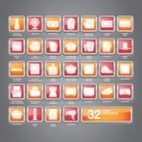 Haushaltsgerät-Ikonen flach Stockbild