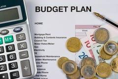 Haushaltsplan Stockfotografie