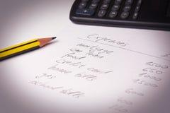 Haushaltsplanung Stockbild