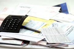 Haushaltsplanung-Rechnungen Stockfoto