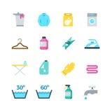 Haushaltsreinigung, -trockner und -wäscherei vector flache Ikonen stock abbildung