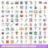 100 Haushaltswarenikonen eingestellt, Karikaturart Stockfotografie
