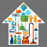Haushaltungshintergrund mit Reinigungsikonen Bild kann auf Werbungsbroschüren verwendet werden Lizenzfreies Stockbild