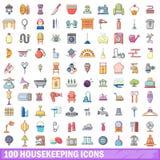 100 Haushaltungsikonen eingestellt, Karikaturart Stockbild