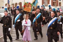 Hausham, Alemania, 07 17 2016: desfile 50 años de cierre de la mina en Hausham Imagen de archivo libre de regalías
