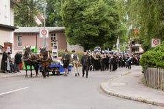 Hausham, Deutschland, 07 17 2016: Festzug 50 Jahre Bergwerkschließung in Hausham Lizenzfreie Stockbilder