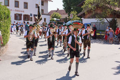 Hausham / Germany / Bavaria-09th August: brass band Elbach Royalty Free Stock Images