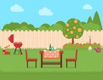 Haushinterhof mit Grill und Garten stock abbildung