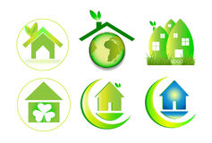 Hauslogo des umweltgerechten Hauses Stockfoto