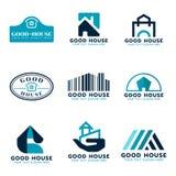 Hauslogo-Vektorbühnenbild (Meerblauer und dunkelblauer Ton) stock abbildung