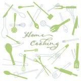 Hausmannskost Küchengerät-Vektorhintergrund lizenzfreie stockbilder