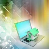 Hausmodell auf dem Laptop Stockbilder