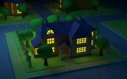 Hausnacht des Karikaturjachthafens Stockbild