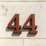 Hausnummer 44 Stockfotografie