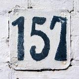 Hausnummer 157 Stockbild