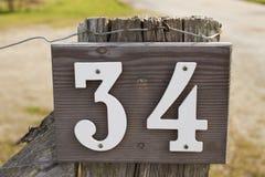 Hausnummer 34 Stockfoto