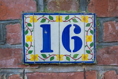 Hausnummer 16 Lizenzfreies Stockfoto