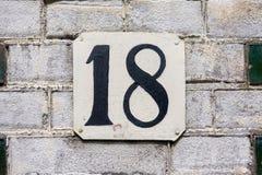 Hausnummer achtzehn 18 Lizenzfreie Stockfotos