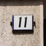 Hausnummer elf 11 Lizenzfreies Stockbild