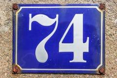 Hausnummer-Platte in Frankreich Lizenzfreies Stockfoto
