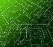 Hausplan auf grünem Hintergrund. Vektorplan vektor abbildung