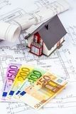 Hausplan mit Euroanmerkungen Stockbild