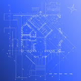 Hausplan: vektorlichtpause Stockbilder