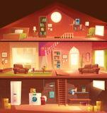 Hausquerschnittinnenraum-Karikaturvektor lizenzfreie abbildung