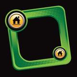 Hausschattenbild auf gekippter grüner Halbtonanzeige lizenzfreie abbildung