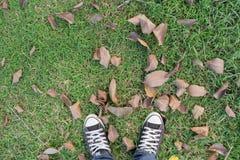 Hausse d'hommes extérieure sur le fond d'herbe verte Photographie stock