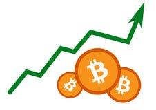 Hausse d'une valeur de bitcoin Photos stock