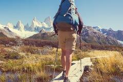 Hausse dans le Patagonia photographie stock libre de droits