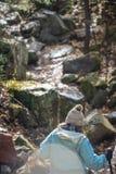 Hausse de femme ascendante sur le terrain accidenté en automne photographie stock