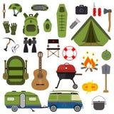 Hausse de l'ensemble Collection d'été de vecteur d'équipement de camping Photographie stock