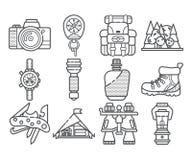 Hausse de l'ensemble d'icône de vecteur de leasure d'équipement et de forêt Éléments de hausse et de trekking de montagne Multito Photographie stock
