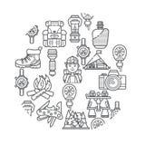 Hausse de l'ensemble d'icône de vecteur de leasure d'équipement et de forêt Éléments de hausse et de trekking de montagne Multito Photographie stock libre de droits