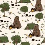 Hausse de l'ornement avec l'ours, les guimauves, les hérissons, les champignons et les arbres illustration stock