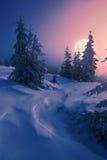 Hausse de lune d'une vallée de montagne carpathienne photo libre de droits