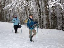 Hausse de raquette sur le chemin neigeux de montagne Arbres dans le backgroun Photos libres de droits