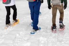 Hausse de raquette sur le chemin neigeux de montagne Promenade sur la neige fraîche Photographie stock libre de droits