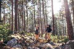 Hausse des couples marchant sur des roches dans des sacs à dos de port de forêt Images stock