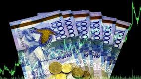 Hausse ou chute de tenge Analyse du tenge de paires de devise au dollar Forex commerce crise moins-value Jeu sur la bourse des va photographie stock libre de droits
