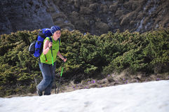 Hausse sur la neige Photo libre de droits