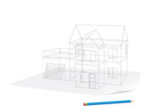Hausskizze auf Papier Lizenzfreies Stockbild