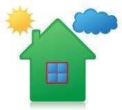 Haussonnen- und -wolkenkonzeptvektorillustration Lizenzfreie Stockbilder